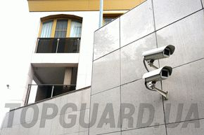 Security of objects. CCTV on the building.