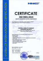International management quality certificate 9001:2015.